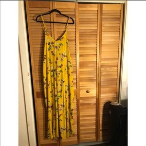 Yellow Floral Maxi Dress with Crisscross Back